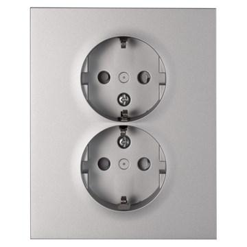 ELKO Plus delt stikkontakt dobbel innfelt m/jord Aluminium