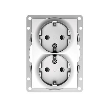 ELKO Plus option stikkontakt dobbel innfelt m/jord Aluminium