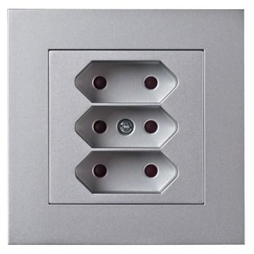 ELKO Plus stikkontakt 3-veis euro Aluminium