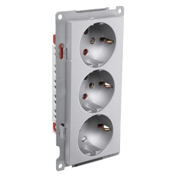 ELKO stikkontakt trippel innfelt m/jord S1093 PT Aluminium