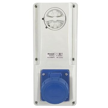 EC Stikk på vegg  låsbar 230V 16A 2P+J IP65