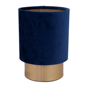 Cyl bordlampe messing 20cm m/blå velour skjerm