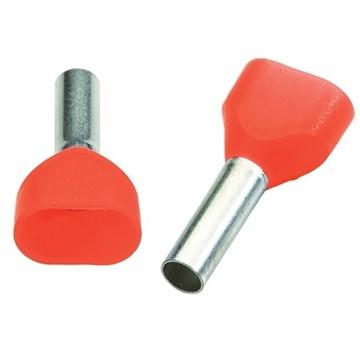 Isolert dobbel endehylse IKY 2x1,5mm² / 8mm, rød