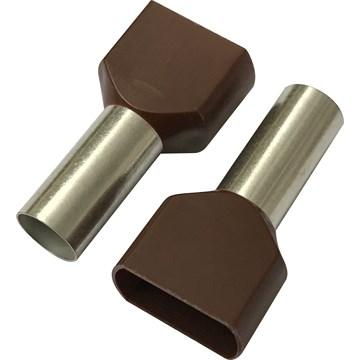 Isolert dobbel endehylse 2x10mm² / 14mm, brun