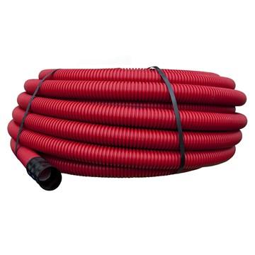 Pipelife korrugert dobbelvegget plastrør for nedgraving 50mm Rød 50m
