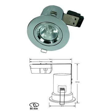 Brannsikker Downlight 35W 230V Krom