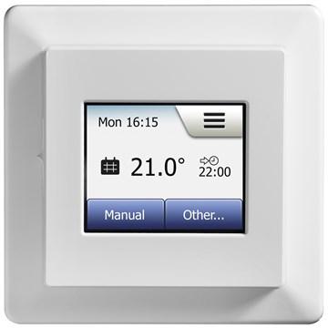 Micro matic termostat MCD5-1999H med ur og touchdisplay hvit.