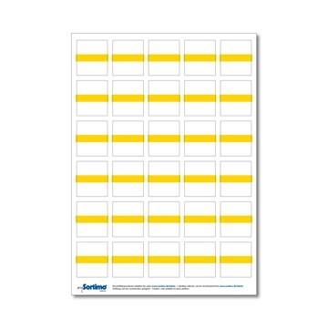 Tekstetiketter til innsatsboks 30 stk. gult (1 ark)