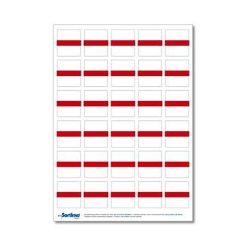 Tekstetiketter til innsatsboks 30 stk. rød (1 ark)