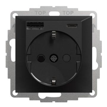 ELKO Plus stikkontakt USB-A+C Sort