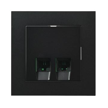 ELKO Plus modularuttak 2xRJ45 KAT6 UTP innfelt Sort