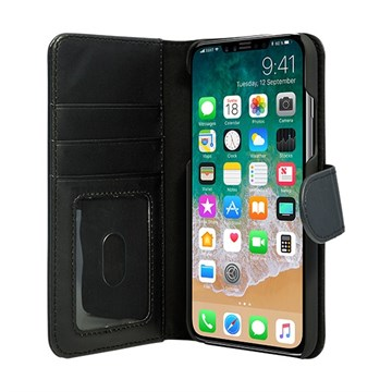 3SIXT etui for Apple iPhone X sort lær