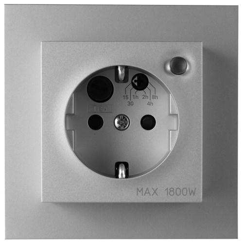 ELKO Plus stikkontakt enkel innfelt m/jord og timer Aluminium