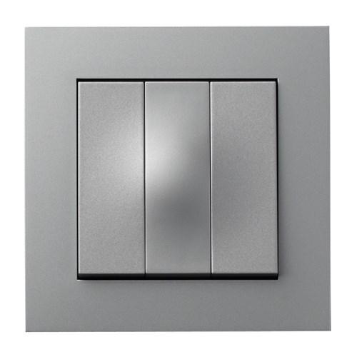 ELKO Plus bryter innfelt 1-pol 1+1+1 Aluminium