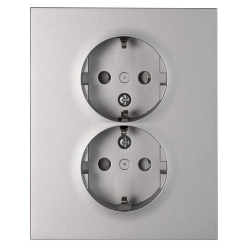 ELKO Plus stikkontakt dobbel innfelt m/jord Aluminium