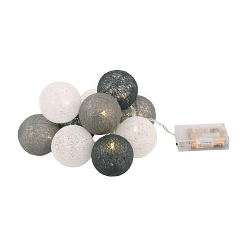 Dekorlys 10 garnballer LED Grå-mix batteri