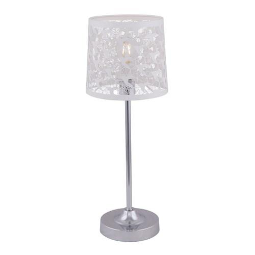 Riga bordlampe med metallskjerm Krom/Hvit