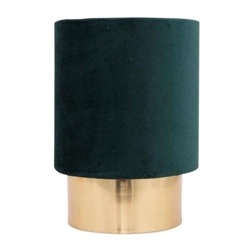 Cyl bordlampe messing 20cm m/grønn velour skjerm
