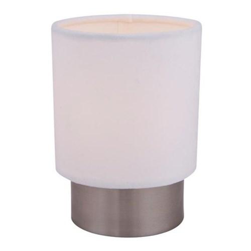 Cyl bordlampe Bøststet stål 16cm m/hvit velour skjerm