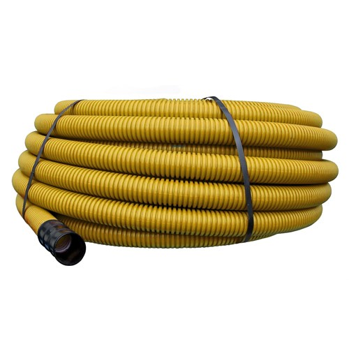 Pipelife korrugert dobbelvegget plastrør for nedgraving 50mm Gul 50m